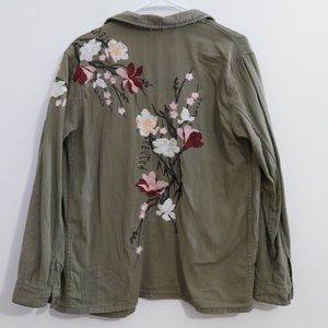 TOPSHOP ARMY GREEN EMBROIDERED FLORAL JACKET